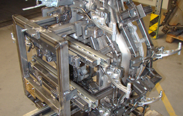 CNC-machined mould with slides, hinges, aluminium clamps, etc.