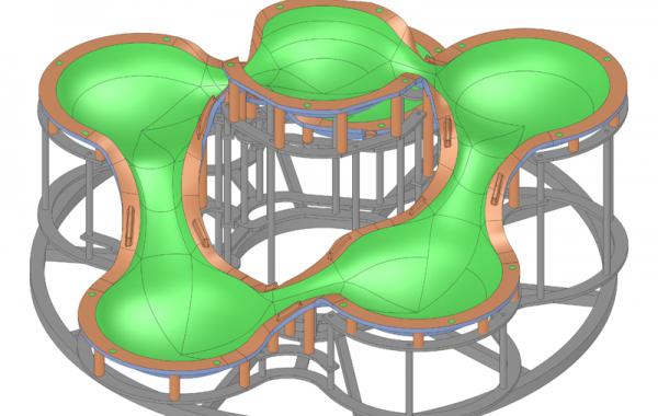 """3D-Formkonstruktion Unterschale Leuchte """"Cosmo"""", Ø1680 x 890mm"""