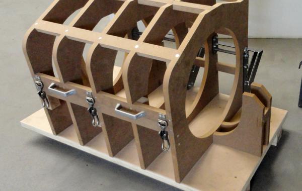 Abkühlvorrichtung für Kunststoffteile aus MDF